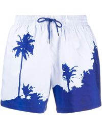 Dries Van Noten Palm Tree Print Swim Shorts - Blue