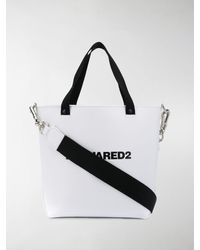 DSquared² Logo Print Bucket Bag - White