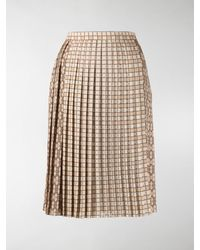 Burberry Pleated Midi Skirt - Multicolour