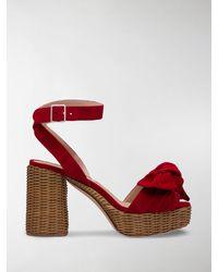 Miu Miu Sandalen mit Schleife - Rot