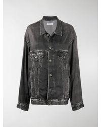Balenciaga Oversize Washed-effect Denim Jacket - Black