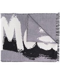 Alexander McQueen Intarsien-Schal mit Logo - Weiß