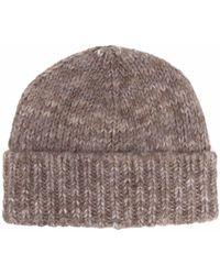 Maison Margiela Ribbed Wool Beanie Hat - Grey