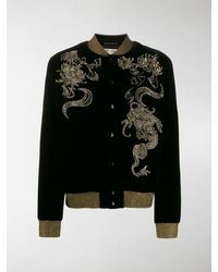 Saint Laurent Embellished Bomber Jacket - Black