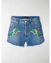 Versace | Denim Embroidered Shirts | Lyst
