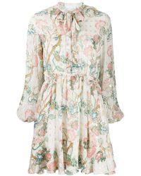Chloé Long-sleeved Pleated Dress - Natural