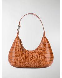BY FAR Crocodile-effect Shoulder Bag - Brown