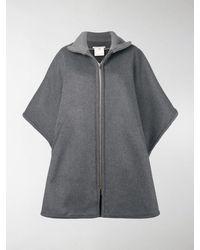 Stella McCartney Brindabella Zip Oversized Wool Cape - Grey