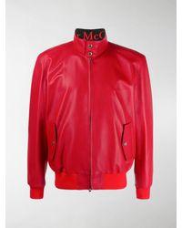 Alexander McQueen Leather Zip Jacket - Red