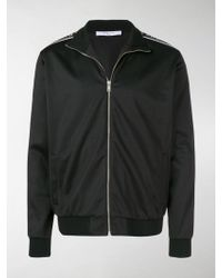 Givenchy Ticker Sleeve Logo Zip Up Track Jacket - Black