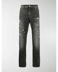Dolce & Gabbana Distressed Straight-leg Jeans - Black