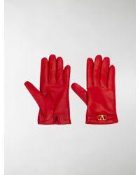 Valentino Garavani V Logo Gloves - Red
