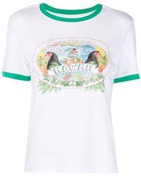 CASABLANCA T-Shirt mit Hawaii-Print - Weiß