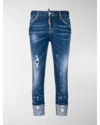 DSquared² Distressed Turn Up Jeans - Blue