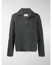 Maison Margiela Ribbed-knit Zipped Cardigan - Grey