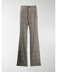 Dolce & Gabbana Flared Check-print Tailored Pants - Gray