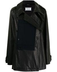 Maison Margiela Double-breasted Leather Jacket - Black
