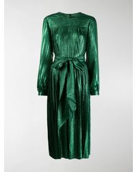 Marc Jacobs Pleated Lame Self-tie Midi Dress - Green