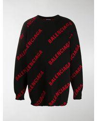 Balenciaga Intarsien-Pullover mit Logo - Schwarz