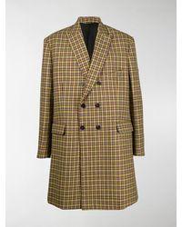 Balenciaga Check Double-breasted Coat - Yellow