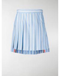 Thom Browne Vertical-stripe Pleated Mini Skirt - Blue