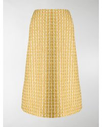 Balenciaga Tweed A-line Skirt - Yellow