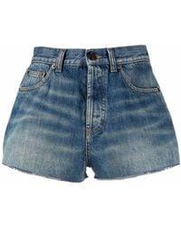 Saint Laurent High-waisted Denim Shorts - Blue