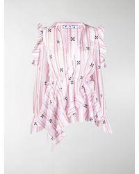 Off-White c/o Virgil Abloh Ruffle-detail V-neck Blouse - Pink