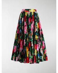 Richard Quinn Floral Print Pleated Skirt - Black