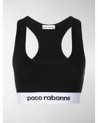 Paco Rabanne - Logo Cropped Sports Bra - Lyst