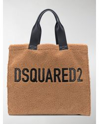 DSquared² Logo-detail Faux-fur Tote Bag - Brown