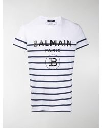 Balmain Striped Logo Print T-shirt - White