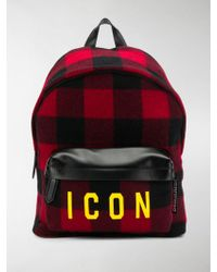 DSquared² Plaid Icon Backpack - Black