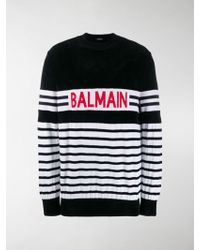 Balmain Striped Logo Sweater - Black