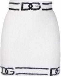 Dolce & Gabbana Strickrock mit DG - Weiß