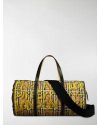 Burberry - Graffiti Print Check Bag - Lyst