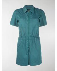 A.P.C. Zip-up Short Sleeve Playsuit - Green