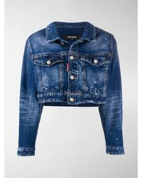 DSquared² Icon Cropped Denim Jacket - Blue