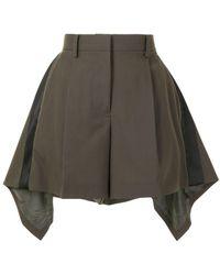 Sacai Asymmetric-hem Shorts - Brown