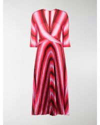 Marco De Vincenzo Striped Pleated Dress - Pink