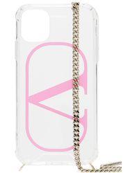 Valentino Garavani Cover per iPhone 11 VLOGO con catena - Rosa