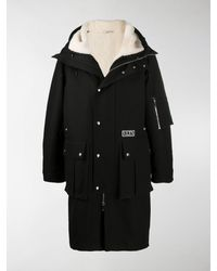 Valentino Drawstring-hood Shearling Coat - Black