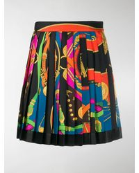 Versace Belt Print Pleated Skirt - Black