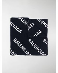 Balenciaga Sciarpa con logo - Blu