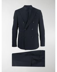 Tonello Double-breasted Tailored Suit - Blue