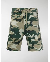 Balmain Camouflage Print Track Shorts - Green