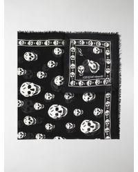 Alexander McQueen Sciarpa stampata Skull - Nero