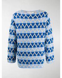 Marni Intarsia Knit Jumper - Blue