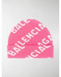 Balenciaga Berretto Allover Logo rosa