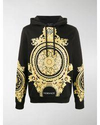 Versace Le Pop Classique Baroque-print Cotton Hoodie - Black